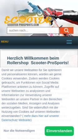 Vorschau der mobilen Webseite www.scooter-prosports.com, Scooter ProSports GmbH