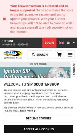 Vorschau der mobilen Webseite www.sip-scootershop.com, SIP Scootershop GmbH