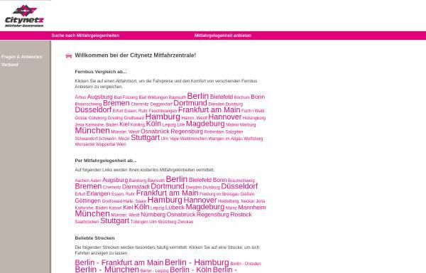 Vorschau von www.citynetz-mitfahrzentrale.de, Citynetz