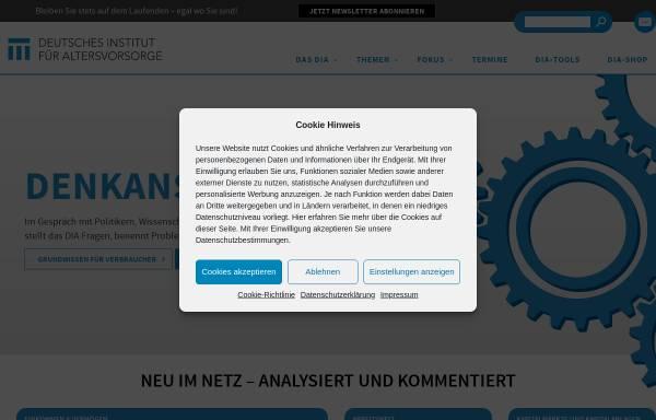 Vorschau von www.dia-vorsorge.de, Deutsches Institut für Altersvorsorge GmbH