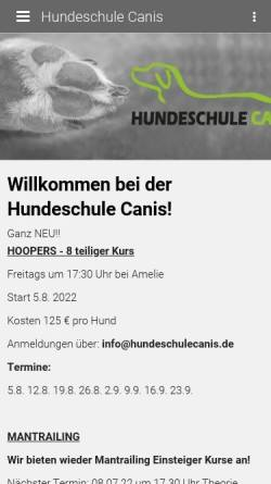 Vorschau der mobilen Webseite hundeschule-wolff.de, Hundeschule Canis