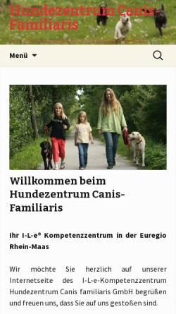Vorschau der mobilen Webseite www.canis-familiaris.de, Hundezentrum Canis familiaris