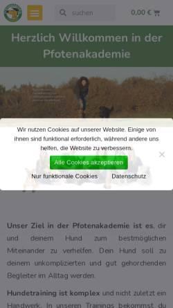 Vorschau der mobilen Webseite www.pfotenakademie.de, Pfotenakademie - Hundeschule & Seminarzentrum