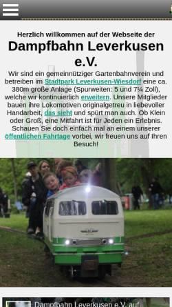 Vorschau der mobilen Webseite www.dampfbahn-leverkusen.com, Dampfbahn Leverkusen e.V.