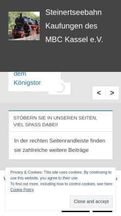 Vorschau der mobilen Webseite www.steinertseebahn.de, Modell-Bahn-Club Kassel e.V.