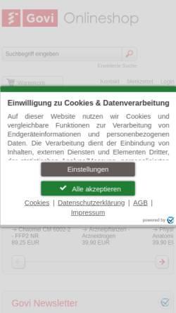 Vorschau der mobilen Webseite www.govi.de, Govi-Verlag Pharmazeutischer Verlag GmbH