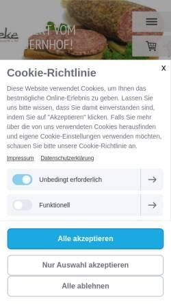 Vorschau der mobilen Webseite www.eichsfelder-wurst.de, Giesbert Bömeke Eichsfelder Wurstspezialitäten