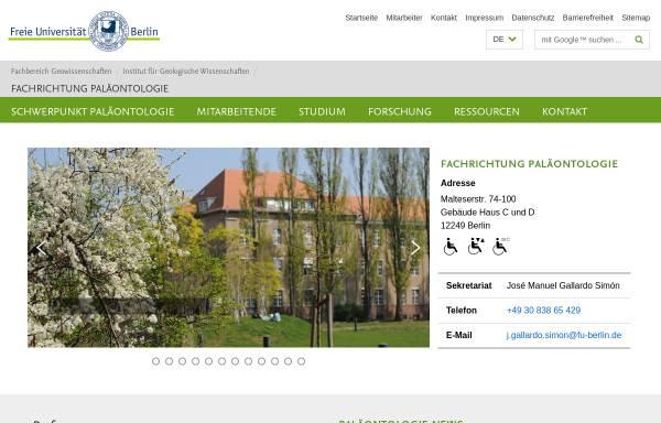 Vorschau von www.geo.fu-berlin.de, Fachrichtung Paläontologie am Institut für Geologische Wissenschaften