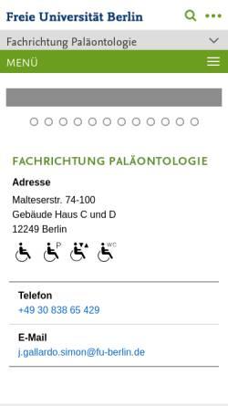 Vorschau der mobilen Webseite www.geo.fu-berlin.de, Fachrichtung Paläontologie am Institut für Geologische Wissenschaften