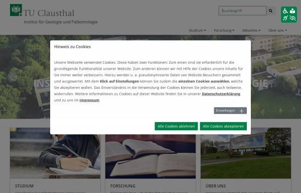 Vorschau von www.geologie.tu-clausthal.de, Institut für Geologie und Paläontologie der Technischen Universität Clausthal