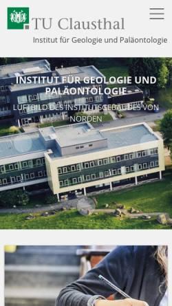 Vorschau der mobilen Webseite www.geologie.tu-clausthal.de, Institut für Geologie und Paläontologie der Technischen Universität Clausthal