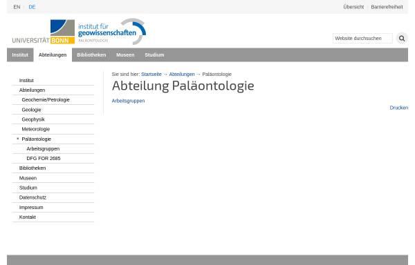 Vorschau von www.paleontology.uni-bonn.de, Institut für Paläontologie