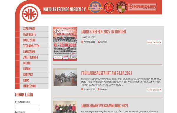 Vorschau von www.kreidler-verein.de, Kreidler Freunde Norden e.V.
