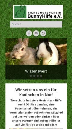 Vorschau der mobilen Webseite bunnyhilfe.de, BunnyHilfe e. V.