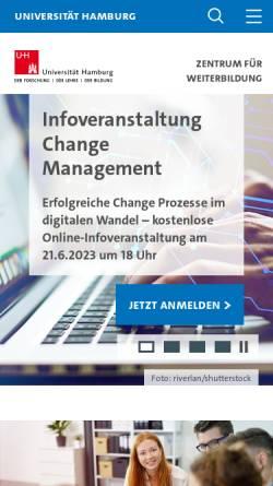 Vorschau der mobilen Webseite www.aww.uni-hamburg.de, Arbeitsstelle für Wissenschaftliche Weiterbildung