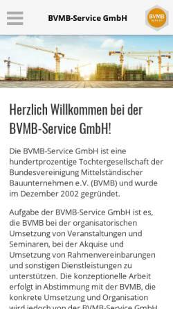 Vorschau der mobilen Webseite www.bvmb-service.de, BVMB-Service GmbH