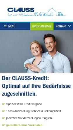 Vorschau der mobilen Webseite www.kredit-clauss.de, Clauss Kapitalvermittlungsgesellschaft mbH