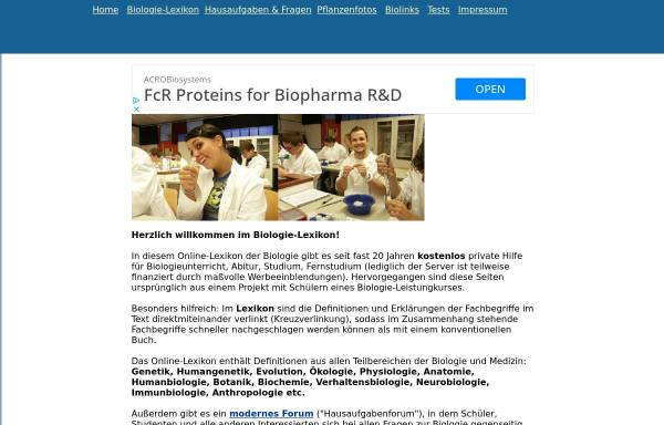Biologie-Lexikon: Nachschlagewerke, Biologie biologie-lexikon.de