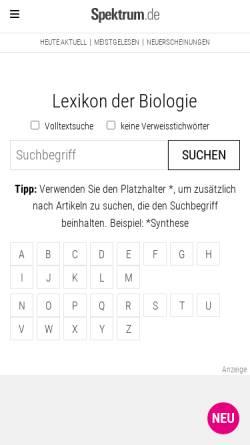 Vorschau der mobilen Webseite www.wissenschaft-online.de, Lexikon der Biologie
