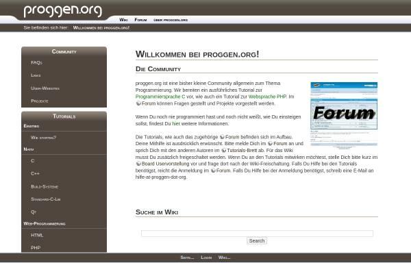 Vorschau von www.proggen.org, Tutorials und Forum - Programmierung von Anfang an