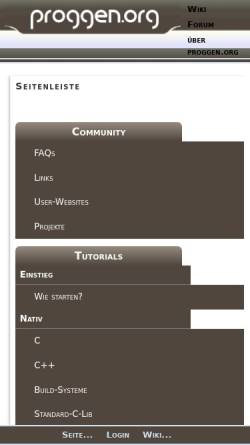 Vorschau der mobilen Webseite www.proggen.org, Tutorials und Forum - Programmierung von Anfang an