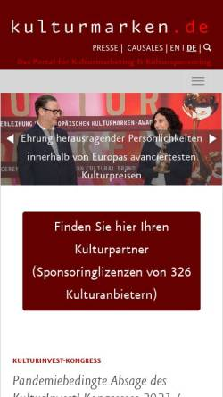 Vorschau der mobilen Webseite kulturmarken.de, Causales, Walter & Neumann GbR