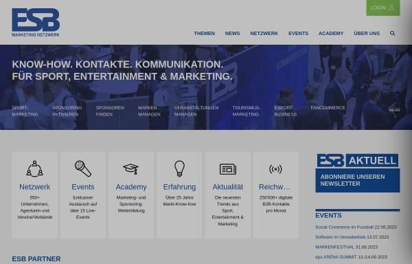 Vorschau von www.esb-online.com, ESB-online - Europäische Sponsoring-Börse