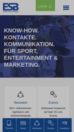 Vorschau der mobilen Webseite www.esb-online.com, ESB-online - Europäische Sponsoring-Börse
