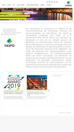 Vorschau der mobilen Webseite www.faspo.de, FASPO - Fachverband für Sponsoring & Sonderwerbeformen e.V.