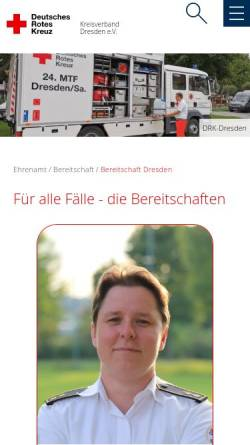 Vorschau der mobilen Webseite www.bereitschaft-dresden.de, DRK Bereitschaft Dresden
