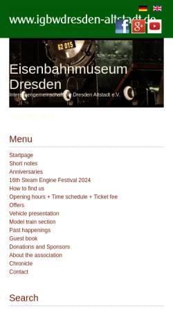 Vorschau der mobilen Webseite www.igbwdresdenaltstadt.de, IG Bahnbetriebswerk Dresden-Altstadt e.V.