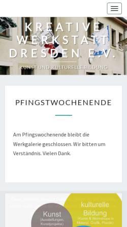 Vorschau der mobilen Webseite www.kreative-werkstatt.de, Kreative Werkstatt Dresden e.V.