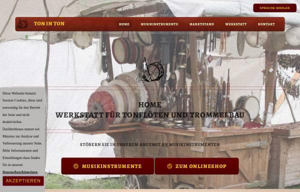 Vorschau von toninton.de, Ton in Ton - Werkstatt für Tonflöten- und Trommelbau, Karl Odendahl