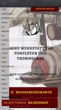 Vorschau der mobilen Webseite toninton.de, Ton in Ton - Werkstatt für Tonflöten- und Trommelbau, Karl Odendahl