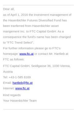 Vorschau der mobilen Webseite www.hasenbichler.com, Hasenbichler Asset Management GmbH