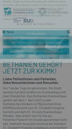 Vorschau der mobilen Webseite www.bethanien-iserlohn.de, Evangelisches Krankenhaus Bethanien Iserlohn