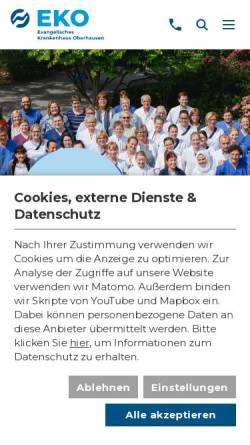 Vorschau der mobilen Webseite www.eko.de, Evangelisches Krankenhaus Oberhausen