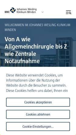 Vorschau der mobilen Webseite www.klinikum-minden.de, Kliniken im Mühlenkreis - Klinikum Minden