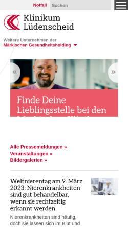 Vorschau der mobilen Webseite www.maerkische-kliniken.de, Klinikum Lüdenscheid