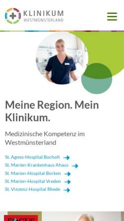 Vorschau der mobilen Webseite www.klinikum-westmuensterland.de, Klinikverbund Westmünsterland