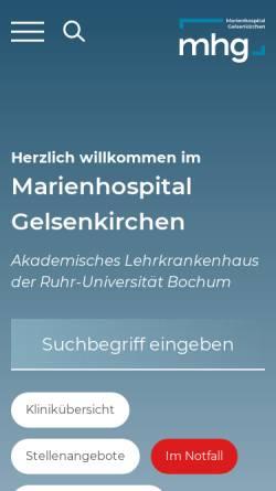Vorschau der mobilen Webseite marienhospital.eu, Marienhospital Gelsenkirchen