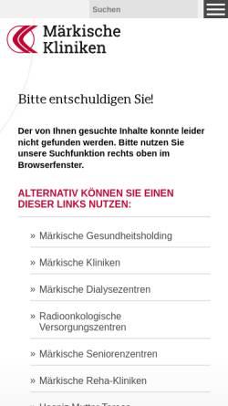 Vorschau der mobilen Webseite www.maerkische-kliniken.de, Marienhospital Letmathe