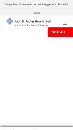 Vorschau der mobilen Webseite www.marien-kh.de, Marienkrankenhaus Schwerte