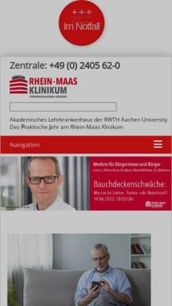 Vorschau der mobilen Webseite www.rheinmaasklinikum.de, Medizinisches Zentrum Kreis Aachen gGmbH