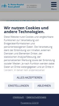Vorschau der mobilen Webseite www.marienhospital-hamm.de, St. Marien-Hospital Hamm