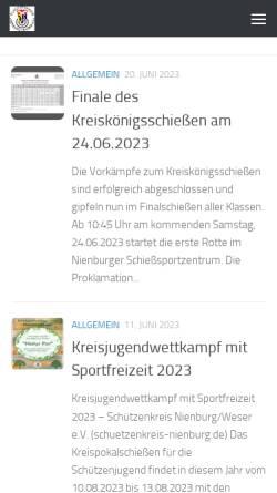 Vorschau der mobilen Webseite schuetzenkreis-nienburg.de, Schützenkreis Nienburg e.V.