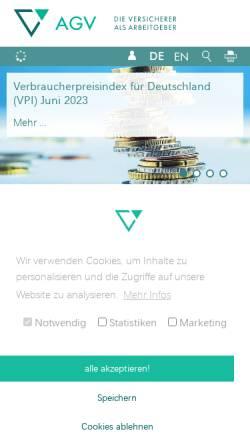 Vorschau der mobilen Webseite www.agv-vers.de, Arbeitgeberverband der Versicherungsunternehmen in Deutschland