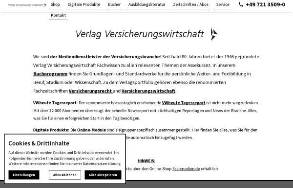 Vorschau von www.vvw.de, Verlag Versicherungswirtschaft GmbH