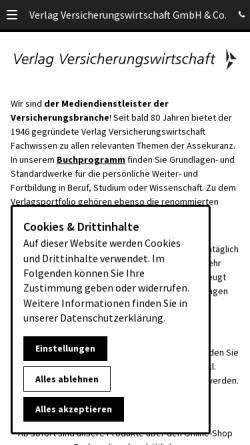 Vorschau der mobilen Webseite www.vvw.de, Verlag Versicherungswirtschaft GmbH