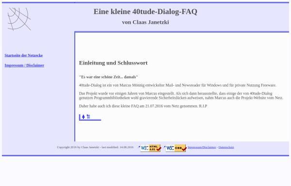 Vorschau von www.cj-web.de, 40tude-Dialog-FAQ (Claas Janetzki)